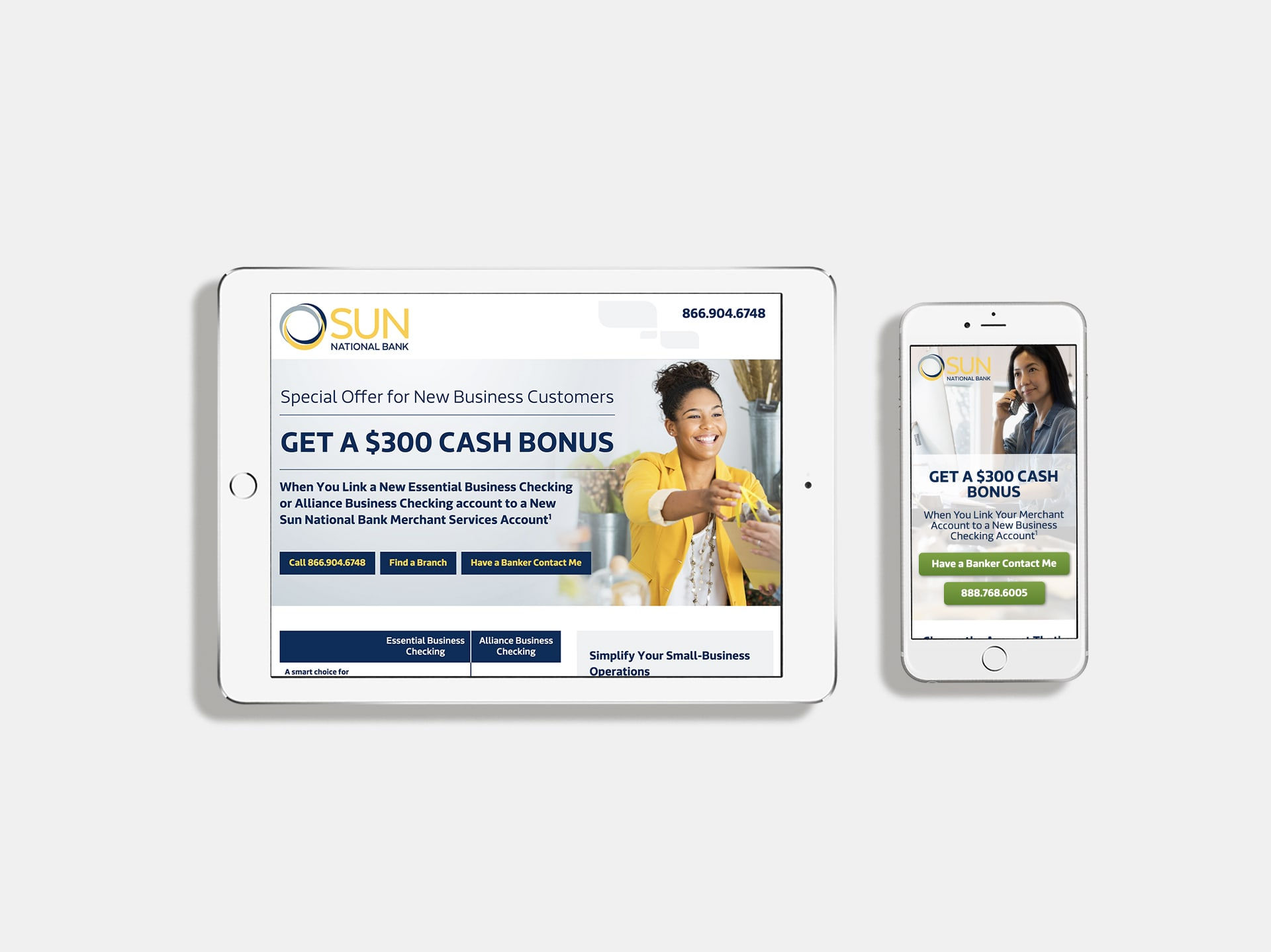 Sun National Bank landing pages