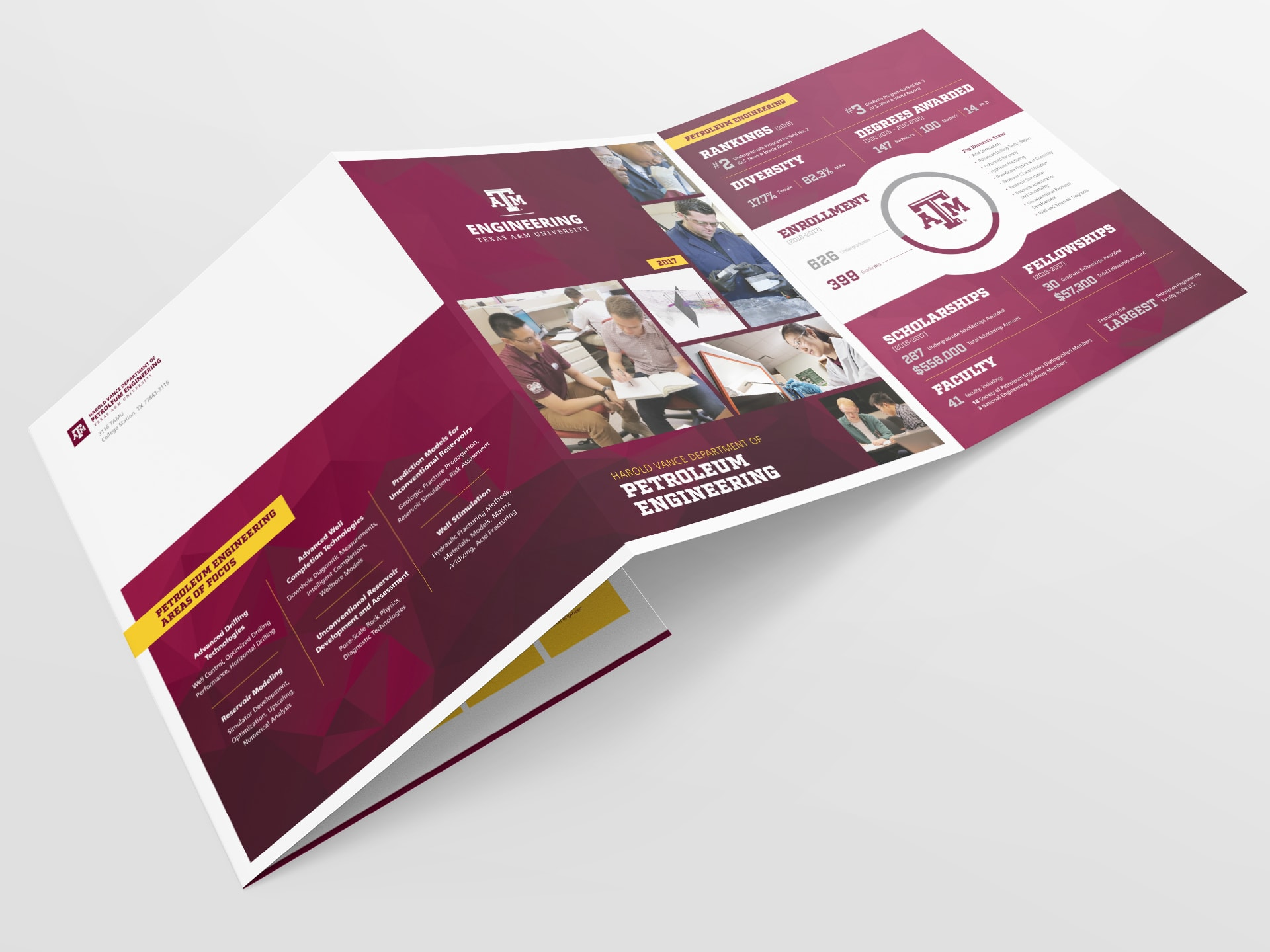 Department brochure front and back cover with fold panel