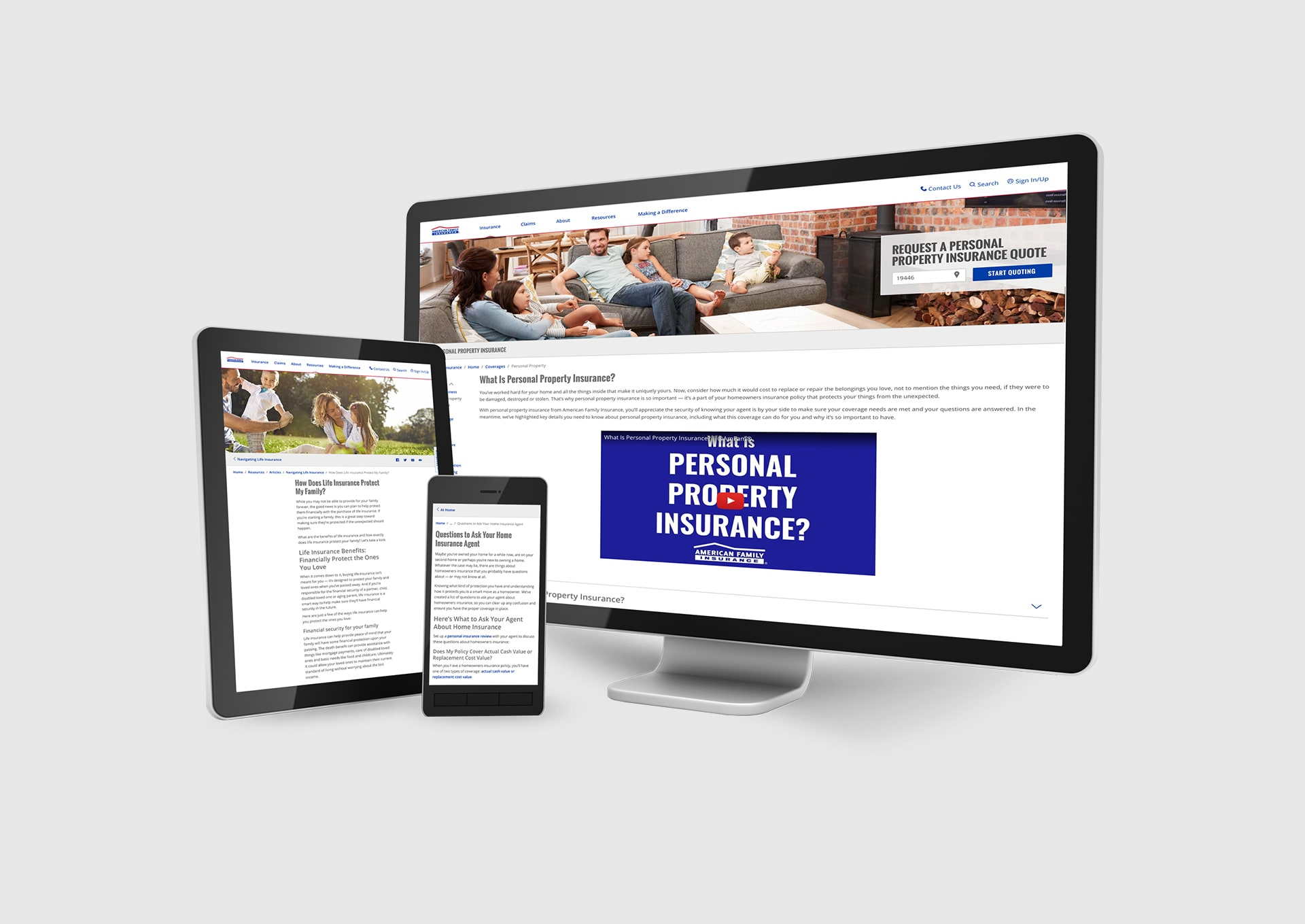 American Family Insurance web mockups