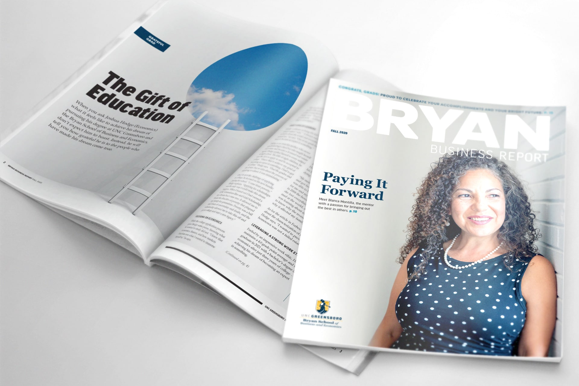 print magazine cover and inner spread