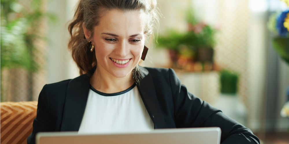 Woman looking at a laptop